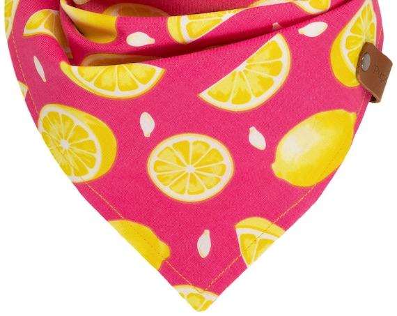 Lemonade Dog Bandana, Summer Lemons Puppy Scarf, Embroidered Name Pet Kerchief, Pink Yellow Custom Doggie Scarves, Girl Reversible Tie Dogs