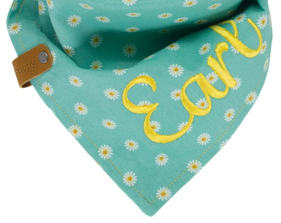 Personalized Spring Daisy Dog Bandana, Turquoise Puppy Scarf, Embroidered Pet Kerchief, Custom Floral Doggie Scarves, Reversible Tie Dogs