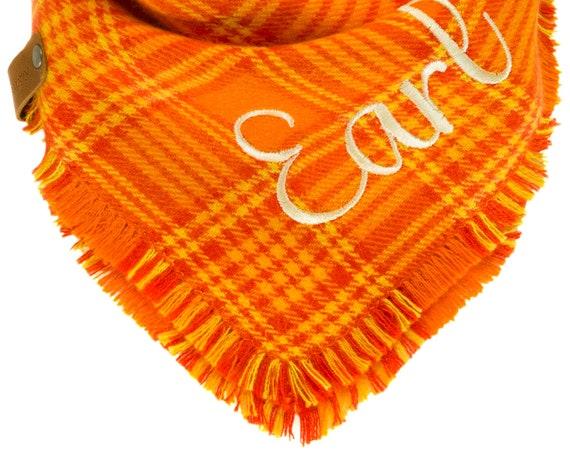 Orange Plaid Flannel Dog Bandana