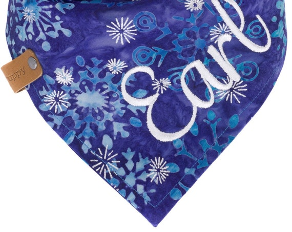 Christmas Dog Bandana, Blue Purple Batik Snowflake Puppy Scarf, Winter Pet Bandanna, Holiday Kerchief Dogs, Xmas Doggy Neckerchief