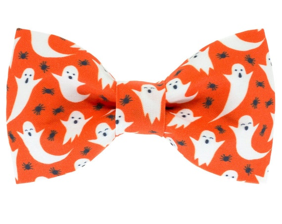 Halloween Dog Bow Tie, Ghost Spiders Pet Bowtie, Spooky Puppy Ties, Orange Hallows Eve Cotton Pet Bows, Holiday Gift Doggy Collar Accessory