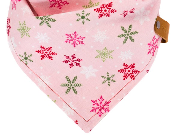 Christmas Dog Bandana, Snowflake Puppy Scarf, Winter Pet Bandanna, Holiday Kerchief Dogs, Xmas Doggy Neckerchief, Stocking Stuffer Puppies