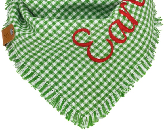 Personalized Christmas Plaid Dog Bandanas, Holiday Gift Puppy Scarf, Winter Tartan Xmas Frayed Doggy Scarves, Green White Doggie Neckerchief