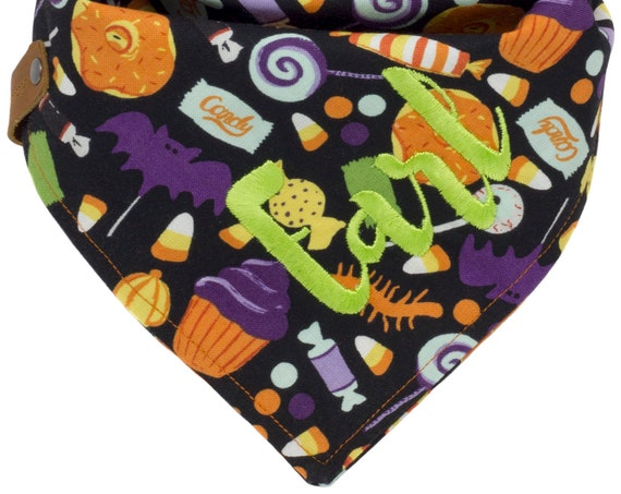 Halloween Embroidered Dog Scarf, Candy Puppy Scarf, Spooky Pet Scarf, Orange Purple Holiday Doggy Scarves, Hallows Eve Doggie Neckerchief