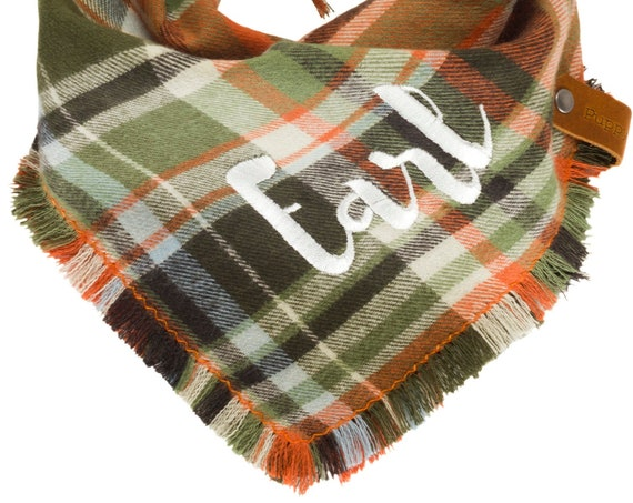 Personalized Autumn Plaid Flannel Dog Bandana