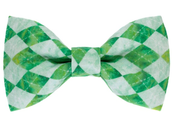 St Patricks Day Dog Bow Tie, Saint Patrick Puppy Bows, Green Blue Aqua Bow Pet Ties, Preppy Argyle Doggy Accessory, Collar Accessories Dogs