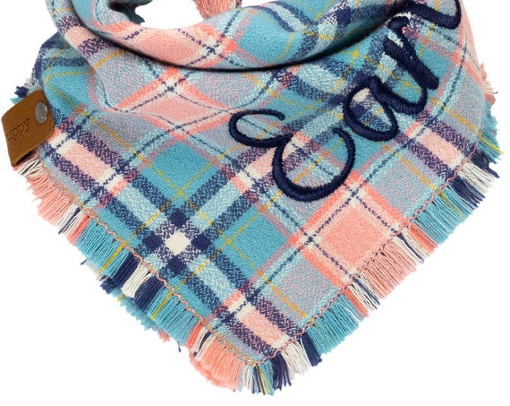 Blue Pink Blush Navy Flannel Pet Bandannas