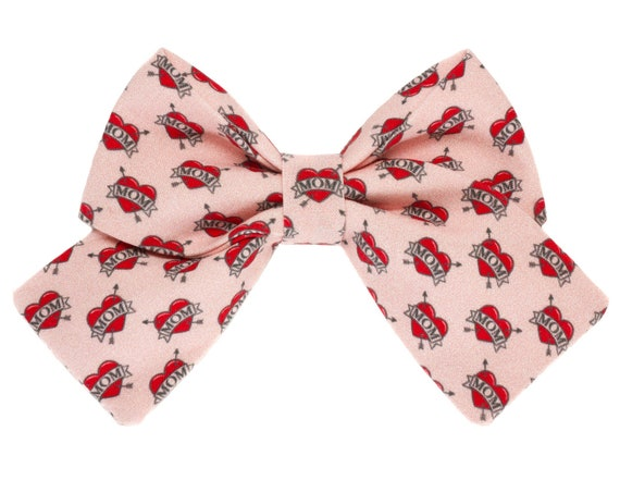 Mother's Day Dog Sailor Bowtie, Pretty Pink Valentines Puppy Bow Tie, Female Heart Pet Bow Ties, Girl Pet Accessory, Pretty Girly Doggie Bow
