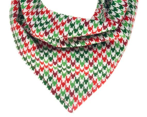 Christmas Dog Bandana, Holiday Puppy Kerchief, Houndstooth Bandanna, Xmas Doggy Scarf, Seasonal Pet Scarves, Winter Doggie Neckerchief, Red
