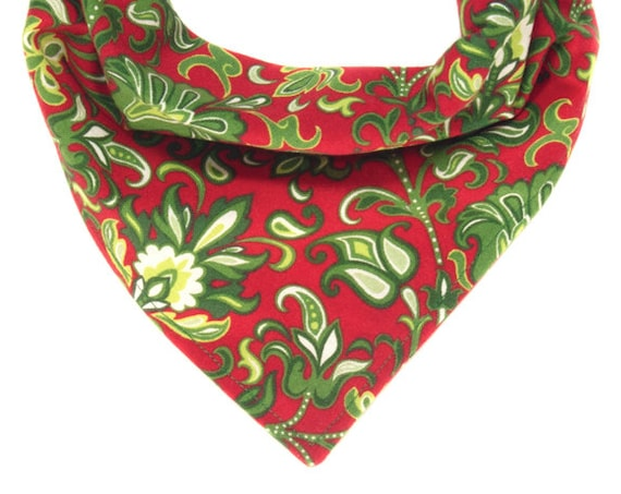 Dog Christmas Scarves, Holiday Puppy Bandana, Red Green and White Pet Scarf, Stocking Stuffer for Pets, Xmas Doggy Bandanna, Gifts for Pets