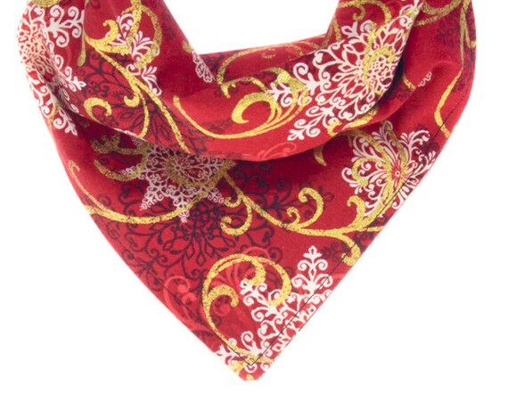 Holiday Puppy Bandanna, Christmas Dog Bandana, Xmas Pet Scarf, Winter Doggy Scarves, Red Black White and Gold Doggie Neckerchief, Kerchief