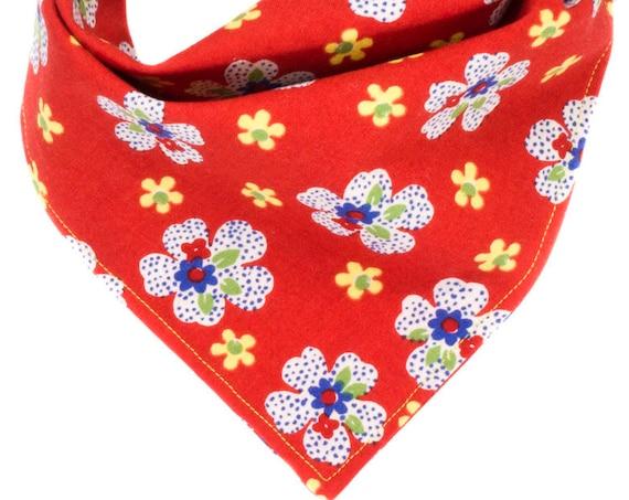 Red Floral Dog Bandana