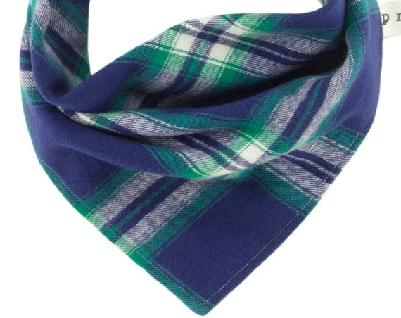Royal Blue and Green Plaid Dog Scarf