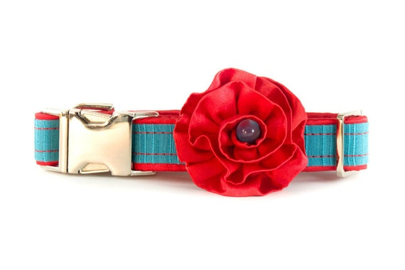 Dog Collar with Flower Accessory, Dog Collar Accessories, 1 Inch, Girl Dog, Fancy Dog, Flower Collar, Satin Dog Collar, Red and Turquoise