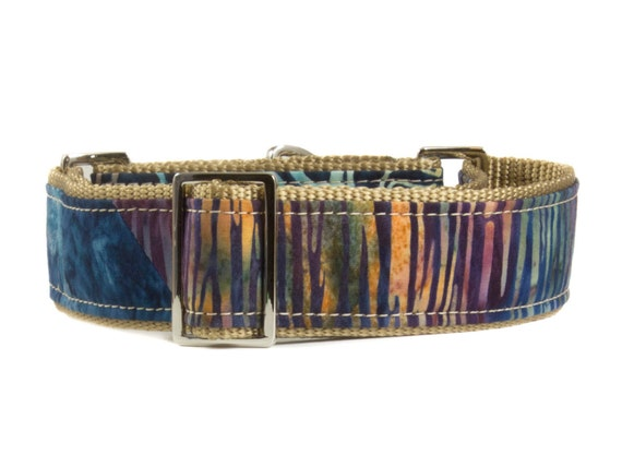 Navy Batik Dog Martingale Collar