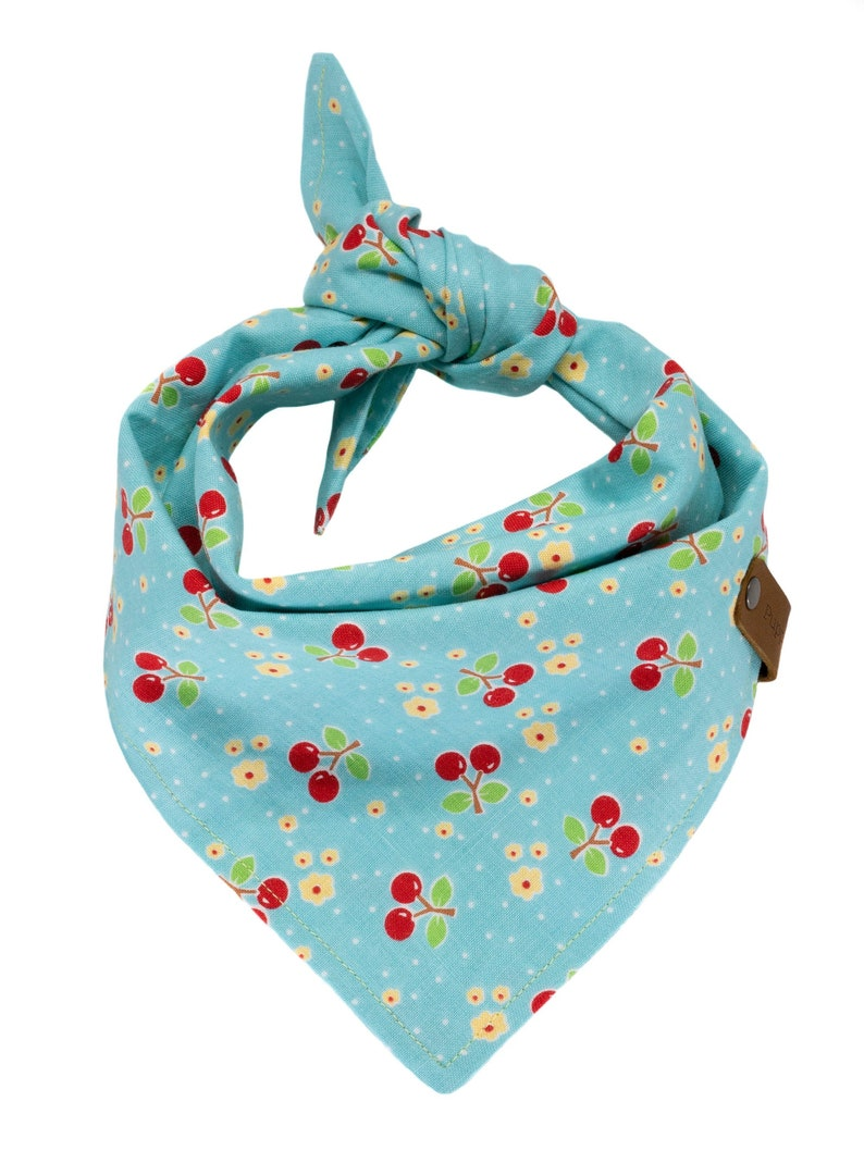 Rockabilly Embroidered Pet Kerchief Custom Doggie Scarves Reversible Tie Dogs Personalized Turquoise Cherries Puppy Scarf Dog Bandana