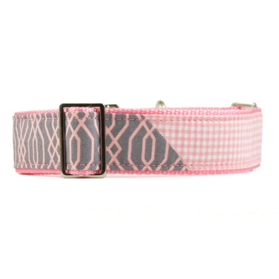 Pink and Grey Martingale Dog Collar
