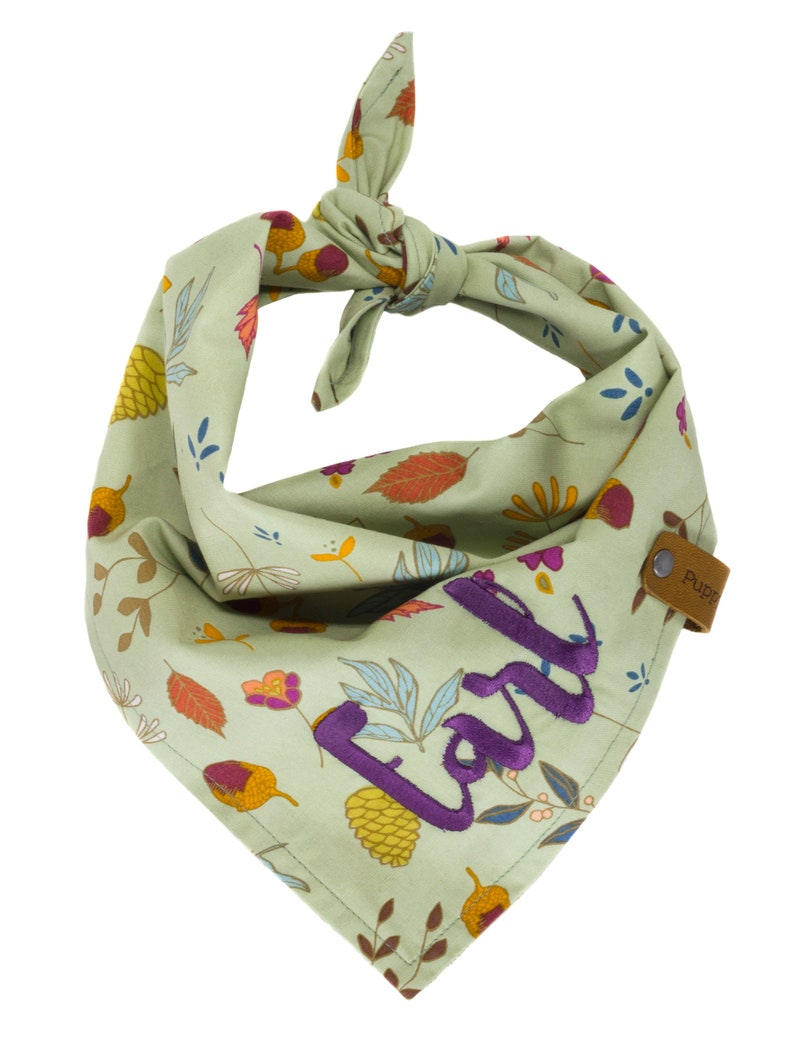 Gift for Dogs Personalized Fall Dog Scarf Green Scarves Doggy Forest Floor Doggie Kerchief Woodland Puppy Bandannas Autumn Pet Bandana