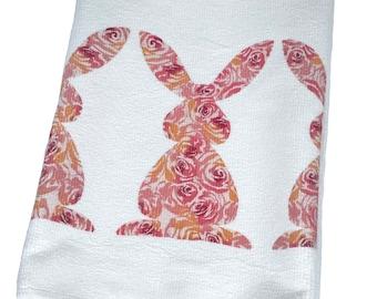 Bunnies Tea Towel, Roses, Easter, Kitchen, Hand Towel, Dish Towel, Bar Towel, Microfiber