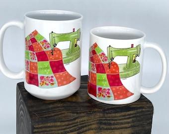 Sewing Machine Ceramic Mug, Quilting and Sewing, Craft Room Decor, Quilter Gift, 11oz or 15oz Mug - 1 Mug