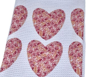 Rose Hearts Tea Towel, Kitchen, Hand Towel, Dish Towel, Bar Towel, Microfiber Waffle Weave