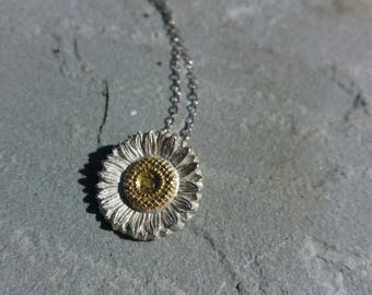 Daisy fine silver and 24k gold necklace