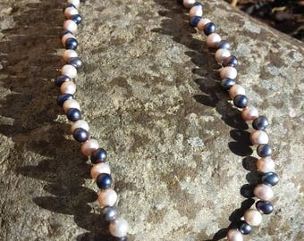 Navy and pink freshwater pearl and sterling silver necklace