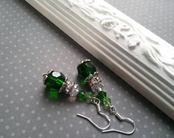 Green Crystal Earrings - sterling silver - bright green earrings - Edwardian - vintage style - Emerald earrings - May birthstone - gift