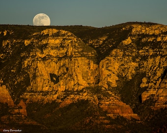 """Moonrise with Mountain (Sedona)  - 8x10/11x14/16""""x20"""" Photo Print Only w/ Paper Options. Mounting & Finishing Options Available."""