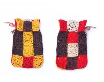 Vintage Crochet Hot Water Bottle Cover