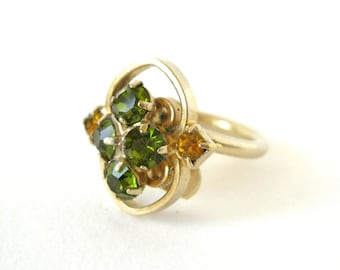 Vintage Sarah Coventry Ring - sweet green and yellow rhinestone costume jewellery