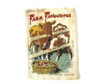 """VINTAGE RAG BOOK - """" Father Tuck's Farm Favourites """"  / antique fabric, cloth book / Sweet illustrations / pig, sheep, horse, cow, goat, etc"""