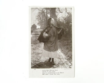 """Vintage Fairy Tale Postcard - very sweet and collectable vintage """"Little Red Riding Hood"""" real photo postcard /  1908"""