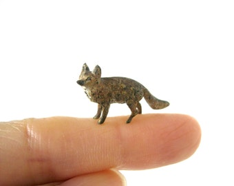 Vintage Cold Painted Miniature Fox - Very rare and collectable antique cold painted bronze animal figure, figurine