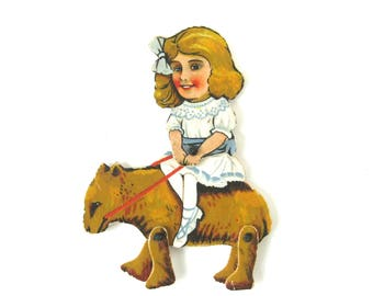 """VINTAGE CARDBOARD PUPPET - """"Goldilocks and her performing bear"""" / Rare and collectable ,novelty  / 1920-1930s"""
