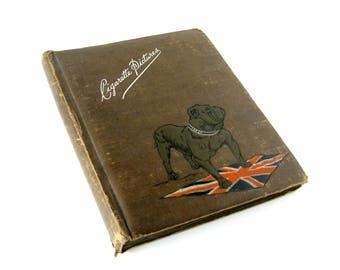 Vintage Cigarette Card Album - contains 198 vintage cigarette cards / English Bulldog and Union Jack design