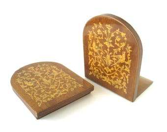VINTAGE WOODEN BOOKENDS - Inlaid wood foldable book stands / Birds, flowers, etc