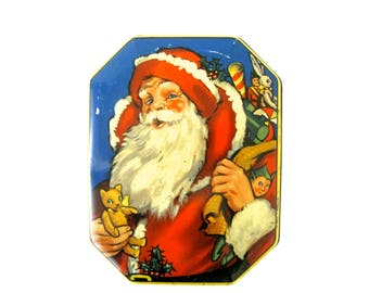 VINTAGE CHRISTMAS TIN - very rare and collectable old English toffee, confectionery tin / Father Christmas and toys design