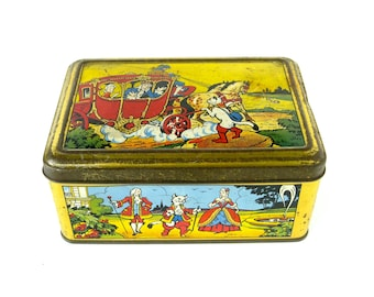 Vintage Fairy Tale Tin - very collectable old English toffee, confectionery tin / Puss in Boots design