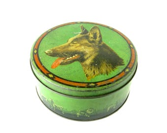 VINTAGE CONFECTIONERY TIN - Very sweet and collectable German Shepherd / Alsatian tin