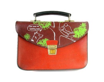"""VINTAGE CHILDS SATCHEL - old French satchel backpack /  Aesop's Fables """" The Fox and the Crow """" design"""