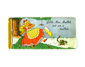 VINTAGE STRIP BOOK - Old Nursery Rhymes Book / Little Miss Muffet, Simple Simon, Little Bo-Peep, Old King Cole, This Little Pig, etc