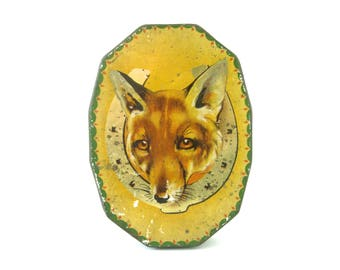 VINTAGE FOX TIN - very rare and collectable old English toffee, confectionery tin