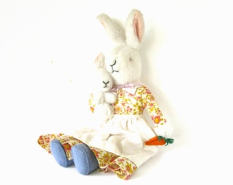 VINTAGE TOY RABBITS - very collectable handmade vintage toy bunny, mum and her baby / blue felt shoes, floral dress, white apron