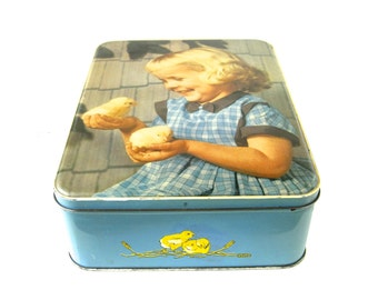 VINTAGE BISCUIT TIN - very sweet and collectable large size confectionery tin container / Chicks and a little girl design / Easter gift