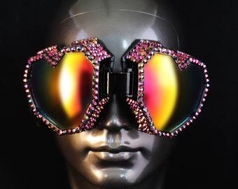 Playa Goggles, Rhinestone Pixel Heart Goggles