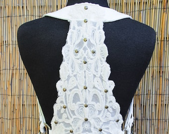 Women's Ivory Lace & Twill Utility Shoulder Holster w/ Detachable Pouches, Adjustable sz S - XL, Custom Made to Order