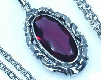 """Art Deco Style 835 Silver Red Necklace Pendant French Paste Necklace 18 1/2"""""""