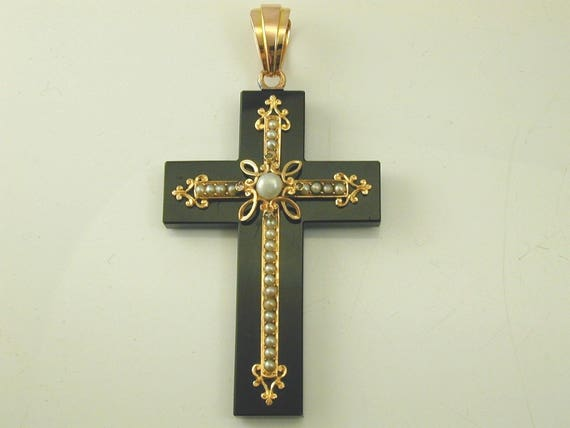 Onyx pearl & diamond cross pendant antique French