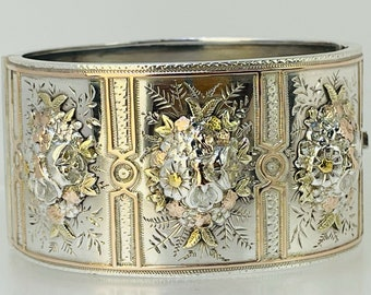 1883 Victorian Solid Sterling Silver Rose & Yellow Gilt Hinged Bangle Flowers